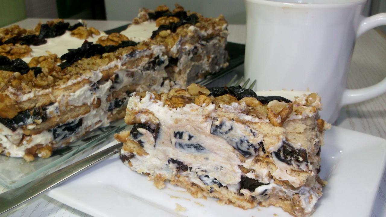 Быстрый и несложный! Торт без выпечки с черносливом и орехами.